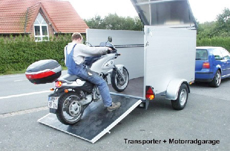 motorrad transporter und garage. Black Bedroom Furniture Sets. Home Design Ideas